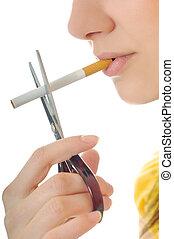 stop smoking - woman isolated on white stop smoking...