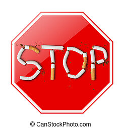 Stop smoking sign on white background