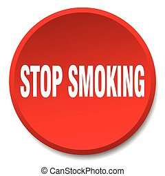 stop smoking red round flat isolated push button