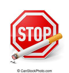 Stop smoking - Red stop sign with cigarette as appeal of...