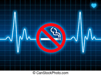 Stop smoking sign on blue heart rate monitor expressing ...
