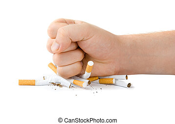 stop smoking - male fist with many cigarettes isolated on...