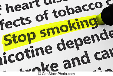 Stop Smoking - Health disease concept with a close-up 3d...