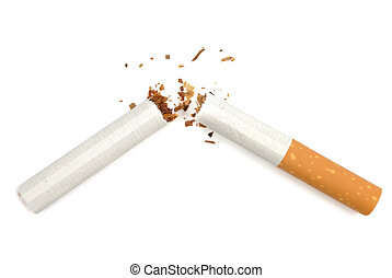 Stop Smoking - Broken cigarette isolated over white...