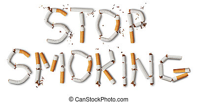 stop smoking - Text ''stop smoking'' made from broken...