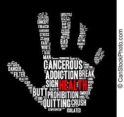 Stop smoking word cloud concept