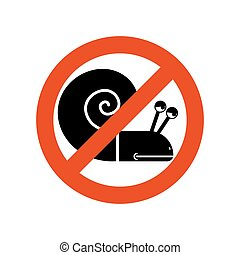 Stop snail. Forbidden insect. Stop slow motion on road....