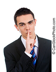 Stop speaking - Portrait of businessman showing silence...