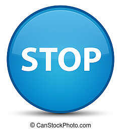 Stop special cyan blue round button