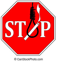 Stop Suicide through Smoking - Warning sign to show the...