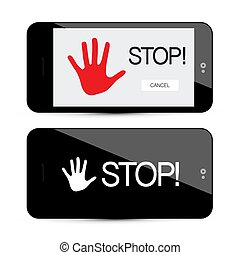 Stop Symbol with Palm Hand on Mobile Phone Device Isolated on White Background