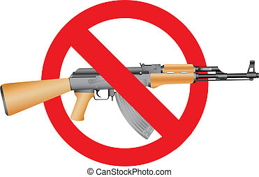 Stop terror - Ak-47 and the interdiction symbol on the white...