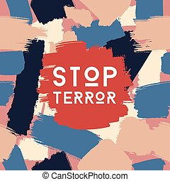 Stop terror grunge postcard template