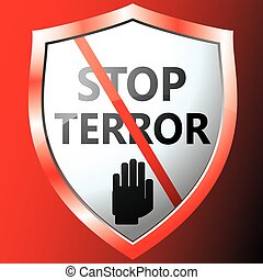 Stop terror icon. Vector illustration