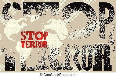Stop terror. Typographic graffiti g