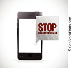 stop texting while driving phone message illustration design...