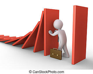 Stop the domino effect - Businessman is pushing a tile to...