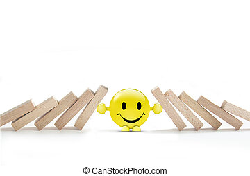 stop the domino effect. - Concept of stop the domino effect.