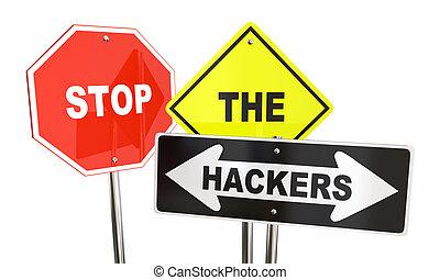 Stop the Hackers Online Digital Theft Crime 3d Illustration