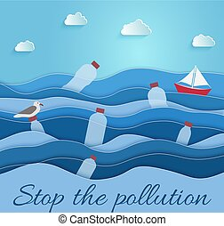 Stop the Pollution. Ecological blue poster. paper art
