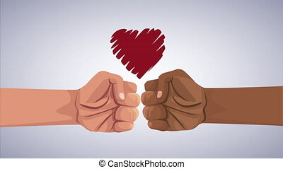 stop the racism campaign with hands fist and heart ,4k video animation