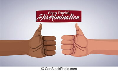 stop the racism campaign with interracial hands ,4k video animation
