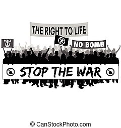 stop the war with people silhouette illustration in black