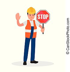 Road builder, adjuster shows a road sign and hand gesture.