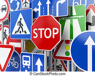 Stop. Traffic road signs on the sky background.