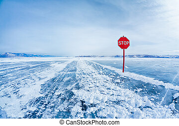 Stop traffic sign on Baikal - Prohibitive Stop traffic sign...
