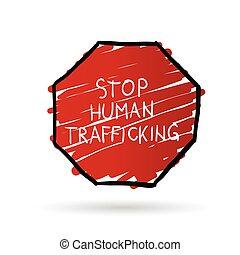 stop trafficking cartoon illustration in color