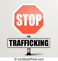 Stop Trafficking - detailed illustration of a red stop...