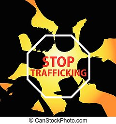 stop trafficking with people illustration silhouette