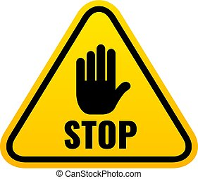 Stop triangle sign with hand