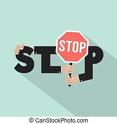 Stop Typography With Stop Signboard