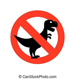 Stop Tyrannosaurus. Red is dangerous. Evil and scary t-Rex dinosaur. Toothy prehistoric reptile. Ban Animal of Jurassic period.