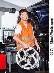 stop, uśmiechanie się, mechanik, dzierżawa