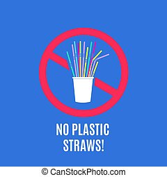 Stop using plastic straws. No plastic pollution campaign and packaging waste vector concept with disposable straws