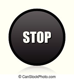 Stop vector black icon. Round sign. Web  symbol.