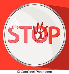 Stop violence concept. round button. red trace