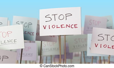 STOP VIOLENCE placards at street demonstration. Conceptual loopable animation
