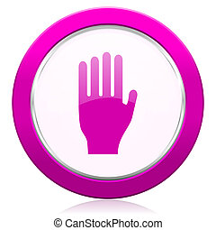 stop violet icon hand sign