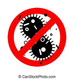Stop Virus bacterium. Forbidden red road sign microbe Pathogenic infection Cell disease. Ban Vector illustration.