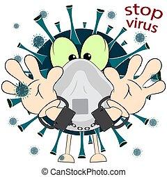 stop virus. cartoon vector illustration on a white background.