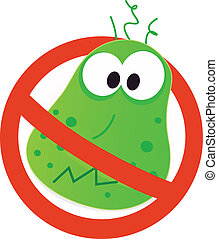 Stop virus warning sign. Vector illustration of germ in red alert circle.
