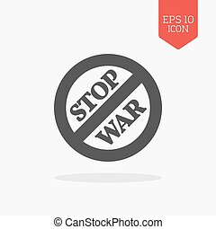 Stop war sign, concept icon. Flat design gray color symbol.
