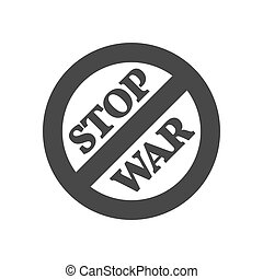 Stop war sign, concept icon. Symbol in trendy flat style isolated on white background.