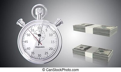 Stop watch animation with money - 3D animation of a simple...