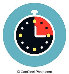 Stop Watch Icon On Round Blue Background