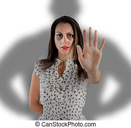 Stop woman violence - Scared woman with bruises and...